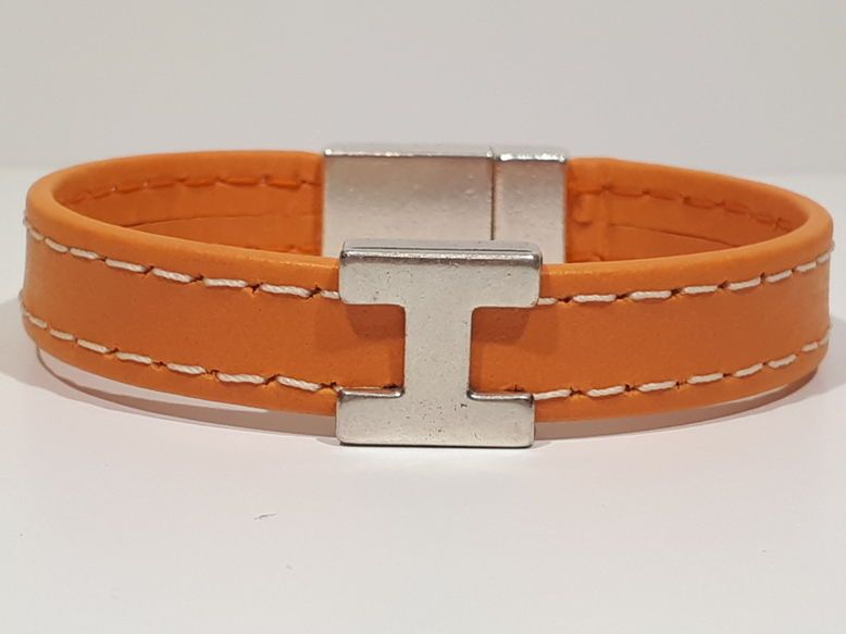 Bracelets en cuir couture Orange H