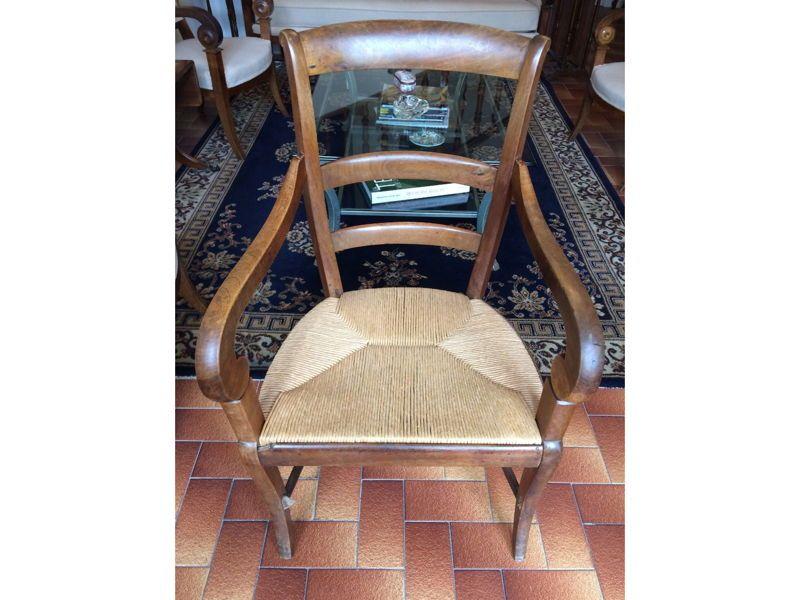 Vends fauteuil rustique bois, assise paillée