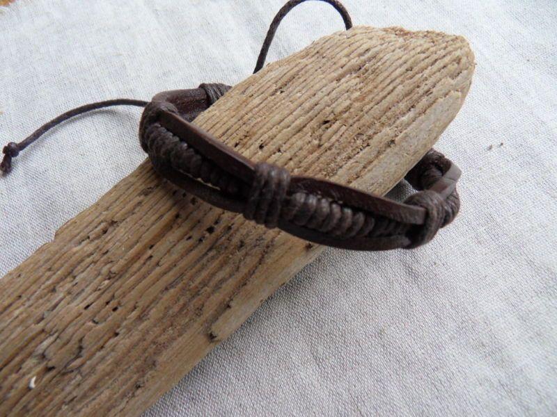 Bracelet cuir marron ou noir mixte