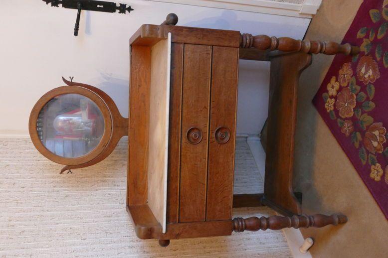 Table de toilette-miroir-marbre-porte-serviettes-Louis-Philippe-H112cm