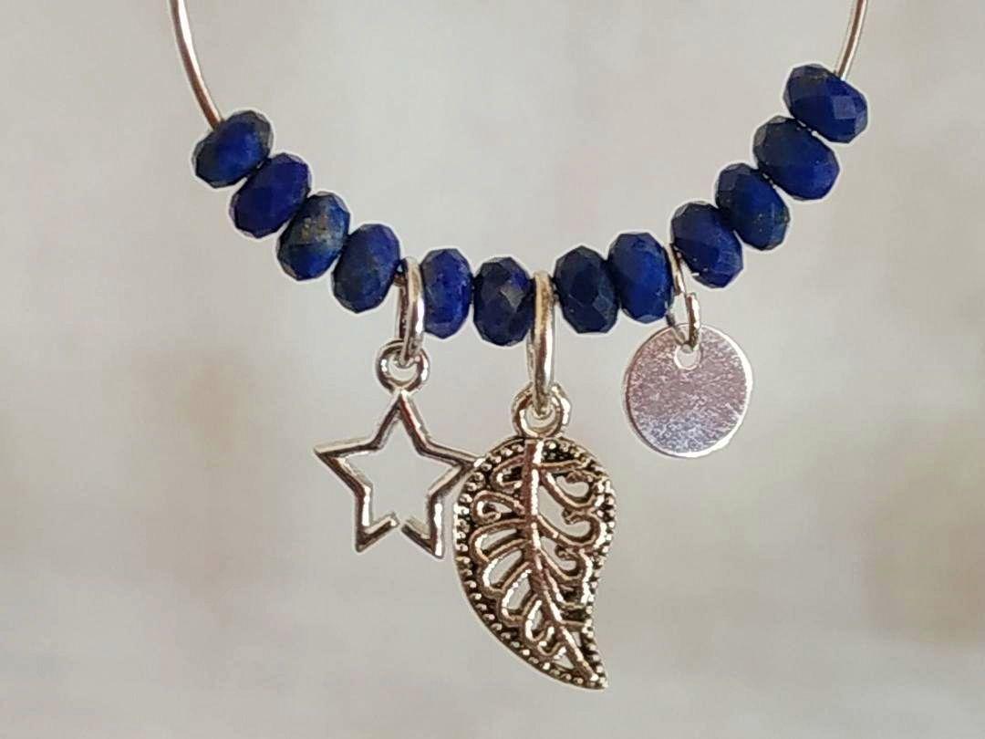 Boucles d'oreilles créoles argent et Lapis-Lazuli crochet ou autre