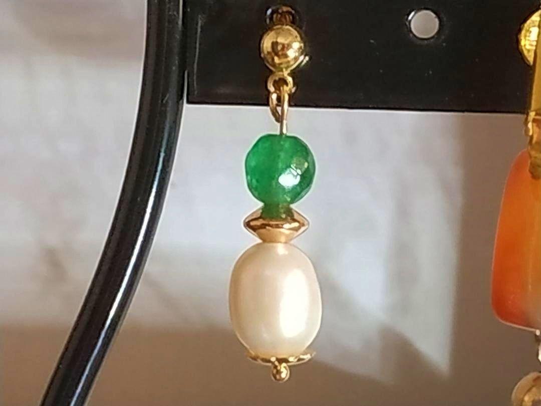 Boucles d'oreilles perle d'émeraude et de culture clip ou autre