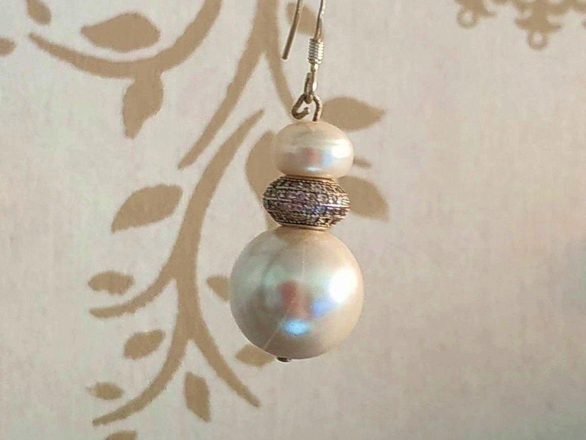 Boucles d'oreilles duo de perles crochet ou clip