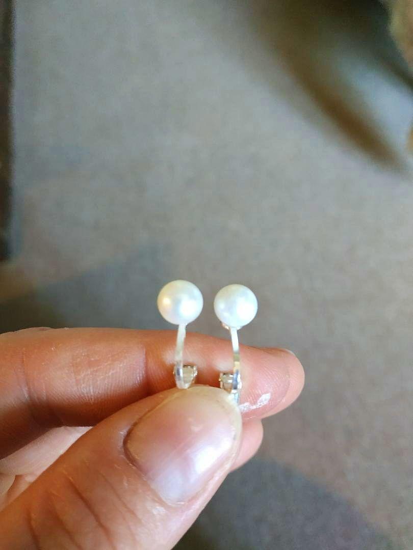 Vends boucles d'oreilles solitaire de perle de culture clip