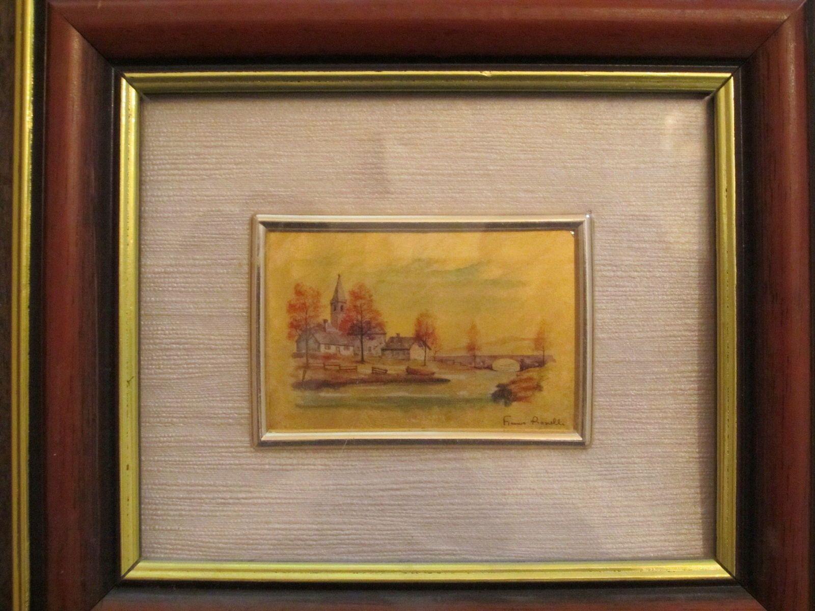 Deux gravures miniatures: chromolithographies sur feuille d'or
