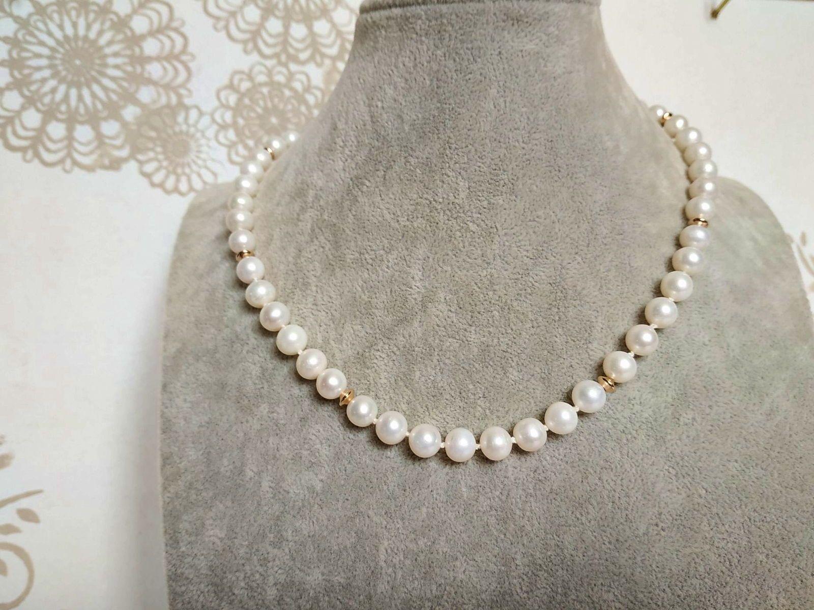 Vends collier de perles de culture d'eau douce 8mm