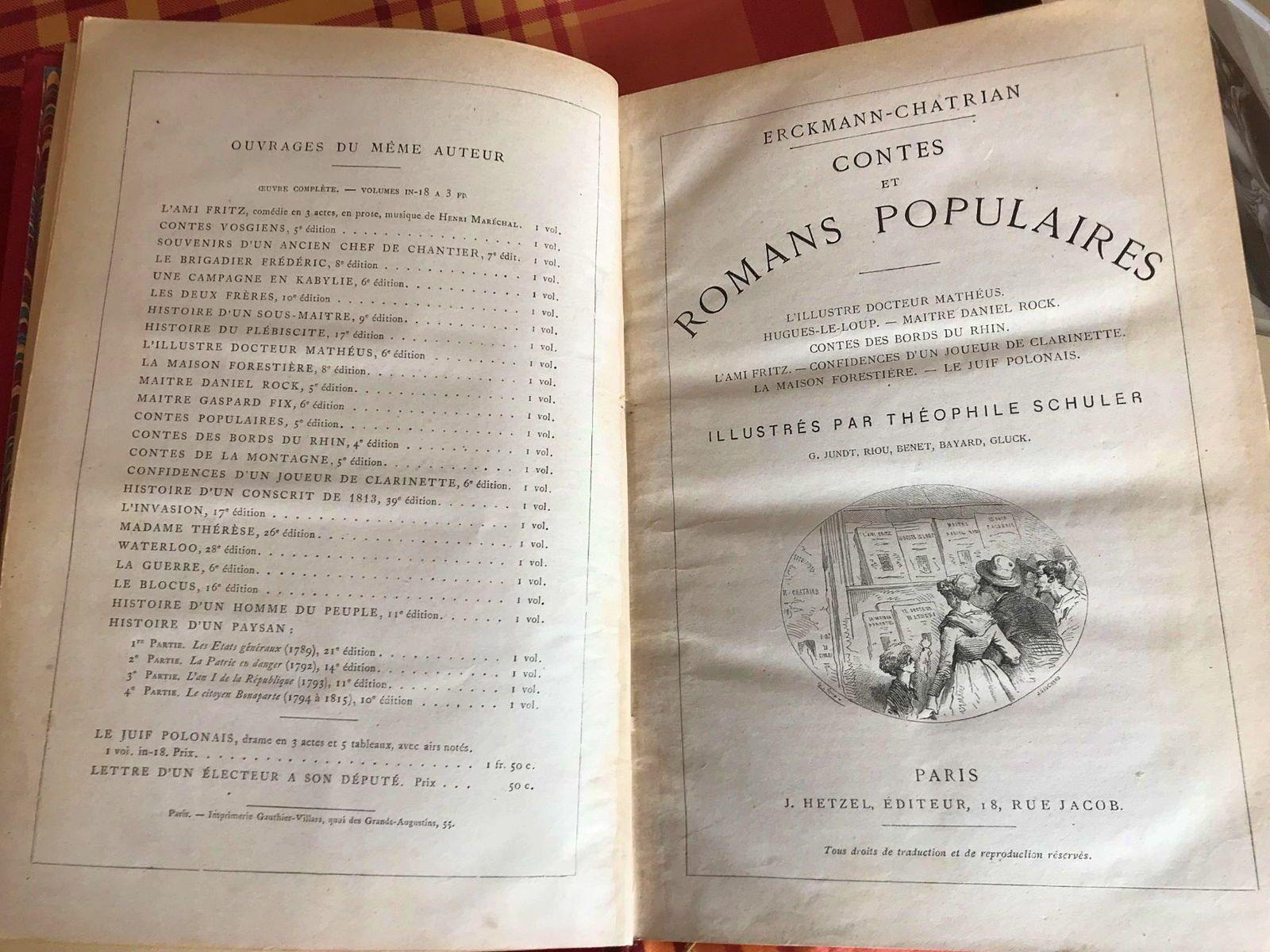 """Cède """"Contes et romans populaires"""" d'Erckmann-Chatrian chez Hetzel"""