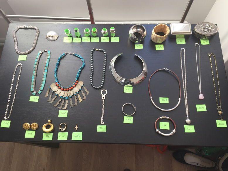 Bijoux argent/plaque or/ pierres précieuses