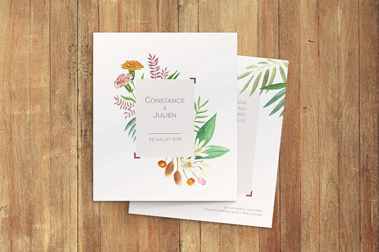Propose service de graphiste pour illustration, faire-part de mariage, naissance, réception