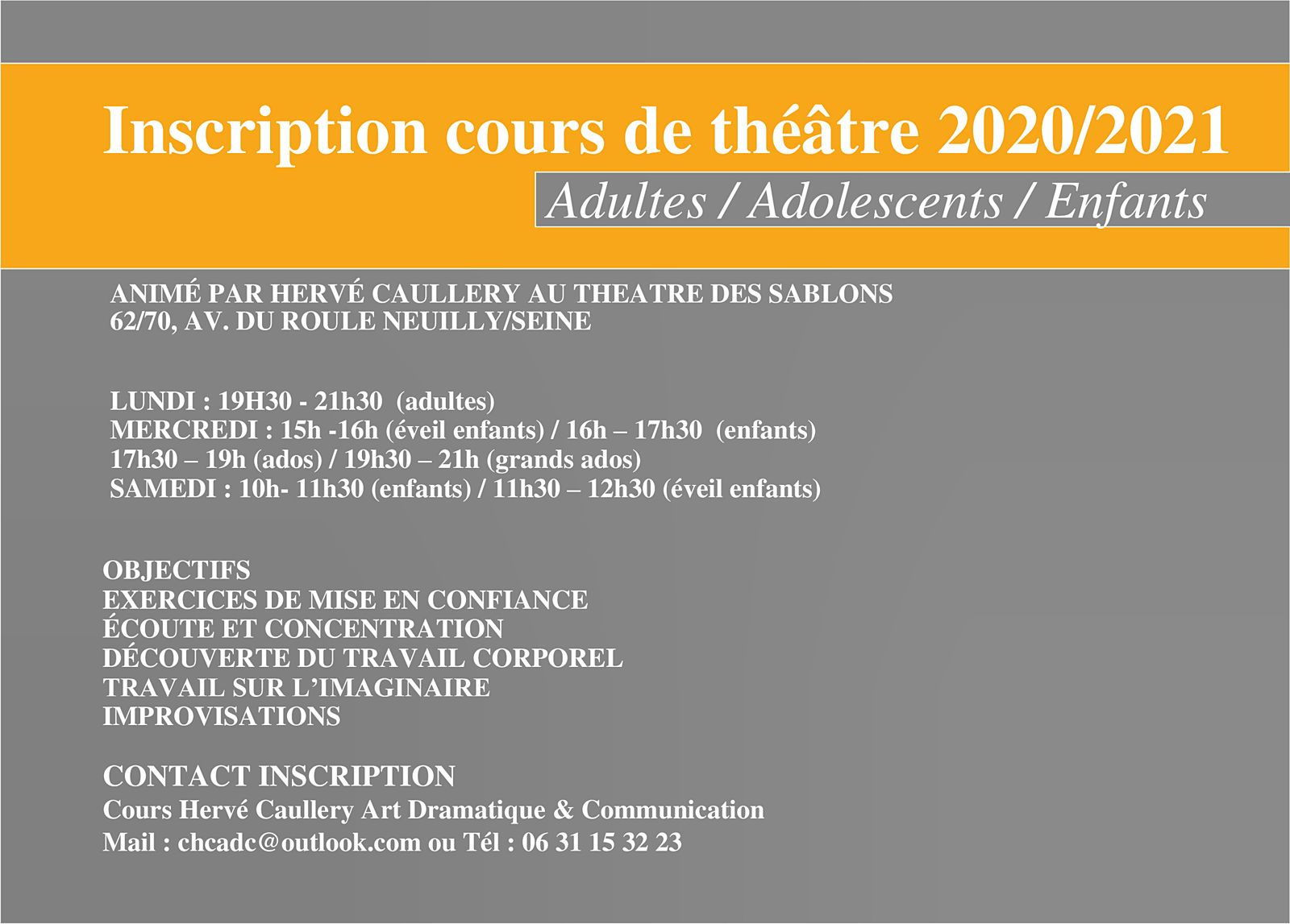Inscription cours de théâtre 2020/2021Adultes / Adolescents / Enfants
