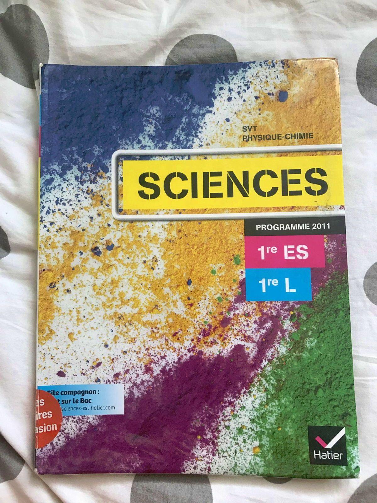 Livre Sciences 1res ES/L HATIER