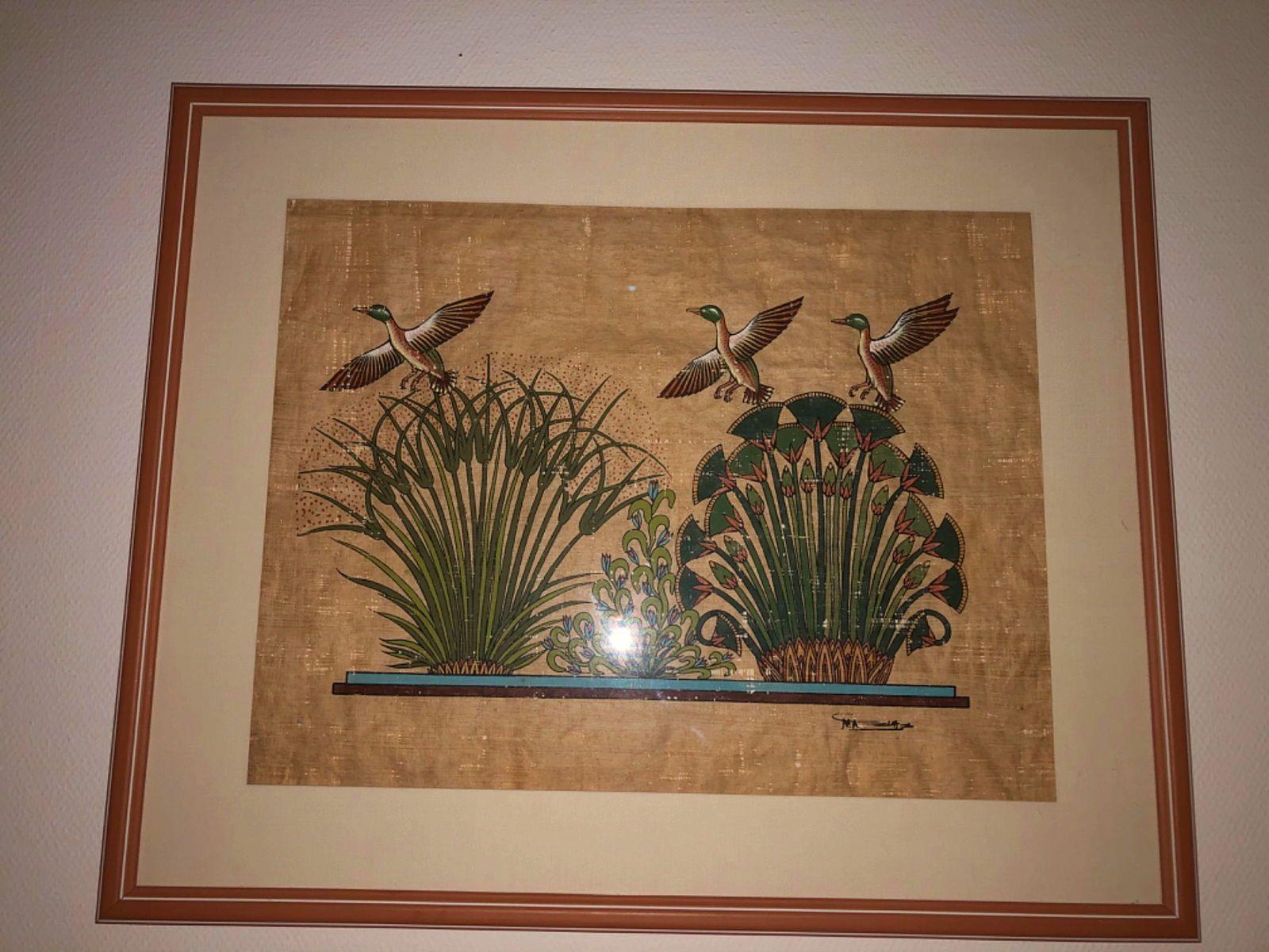 Papyrus encadré - délicats motifs