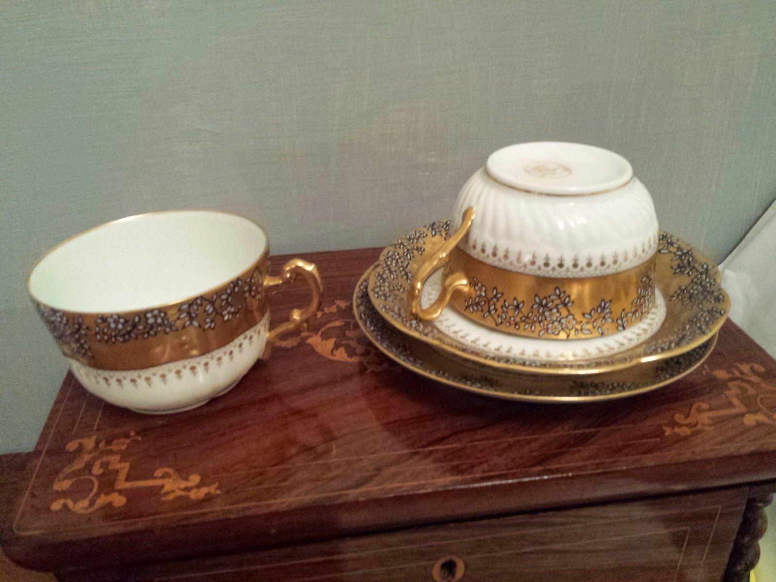 Porcelaine 18802tasses/ss tasses Or Mariage Monogrammees