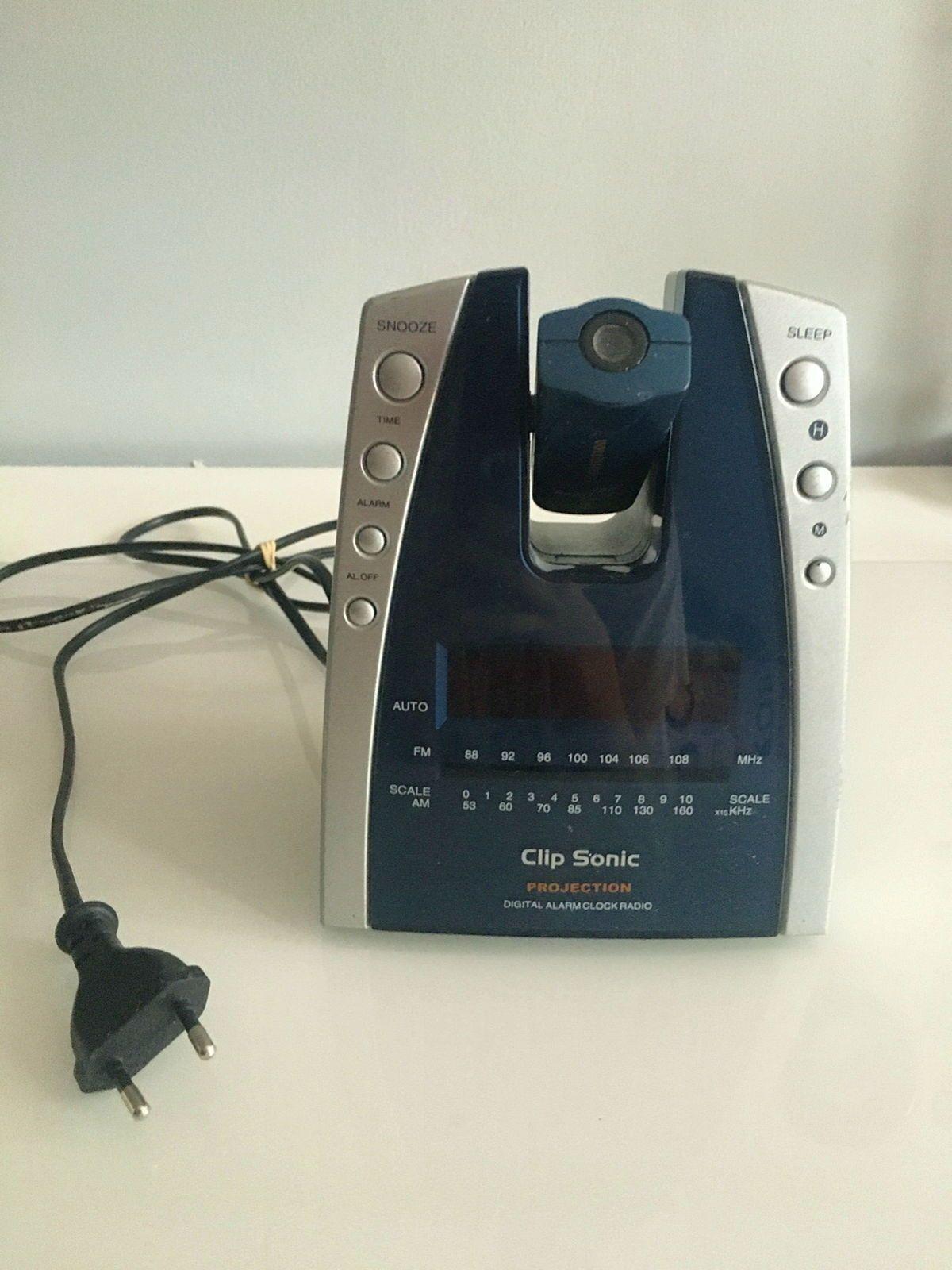 Radio Reveil Horloge Clip Sonic avec projecteur