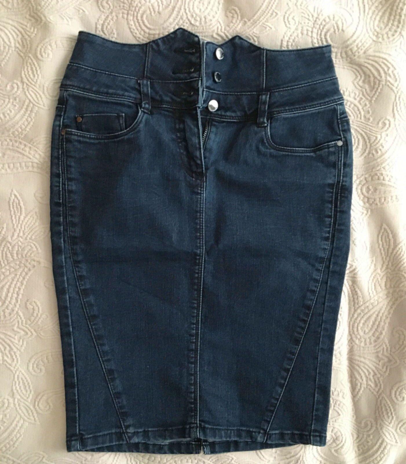 Jupe stretch en jean bleu denim T34ORSAY
