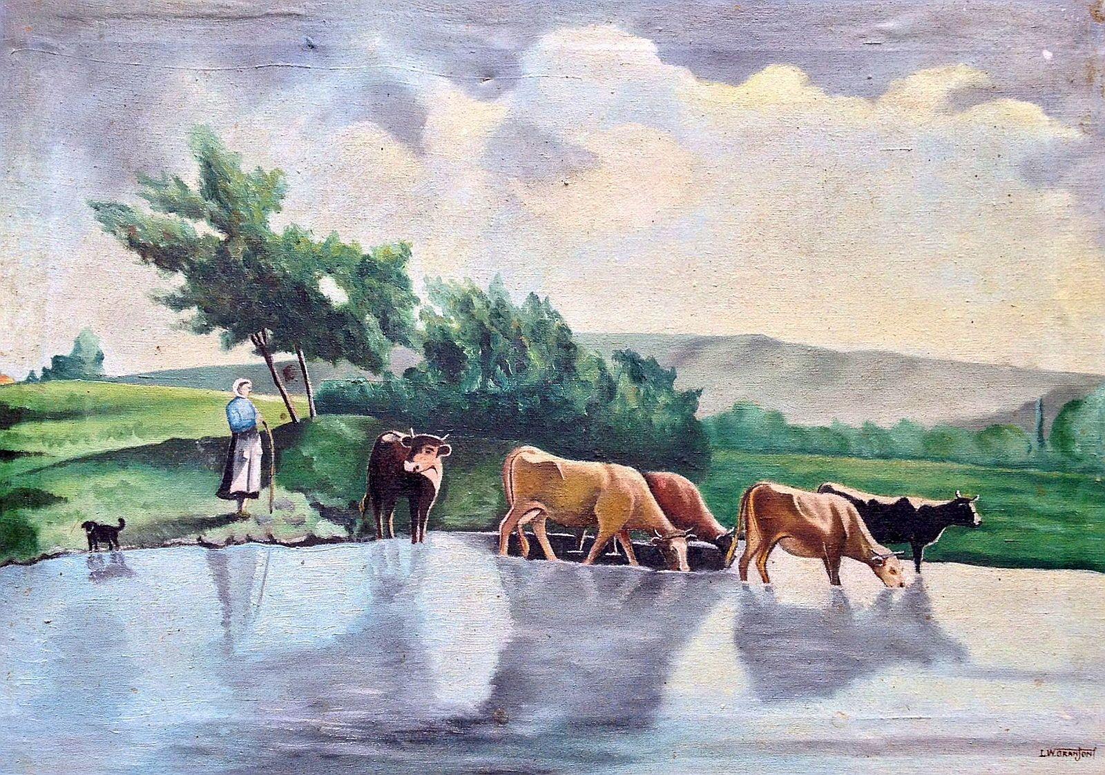 Tableau du Béarn: les vaches allant boire