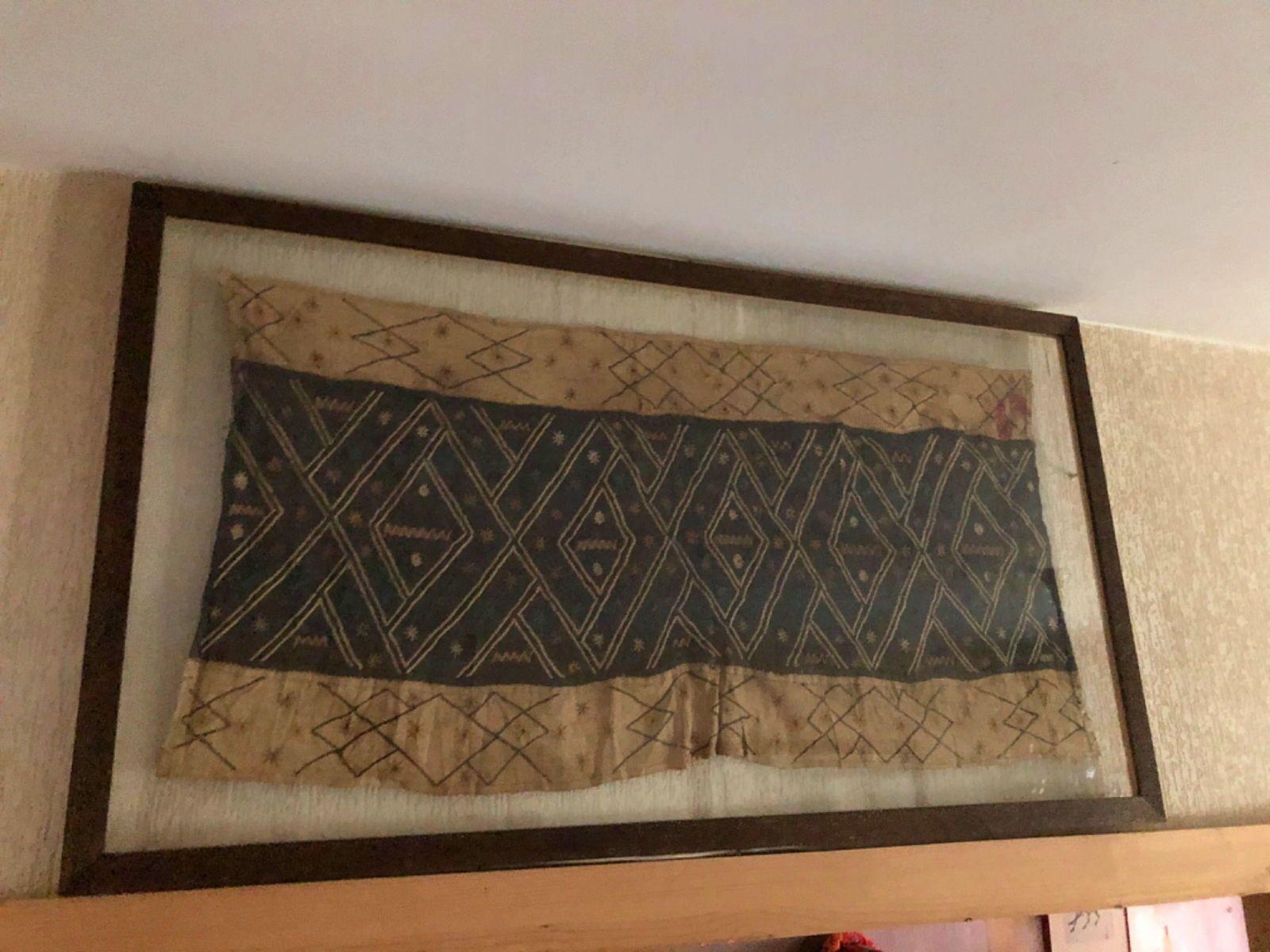Tissu Kuba brodé africain vintage