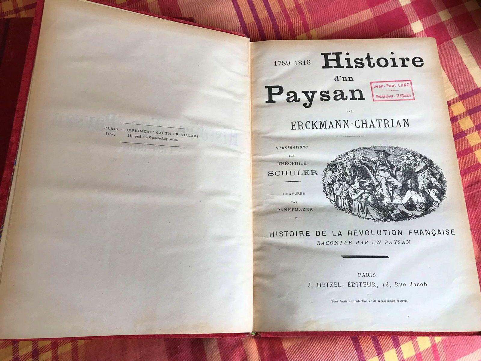 Vends Histoire d'un Paysan par Erckmann-Chatrian chez Hetzel