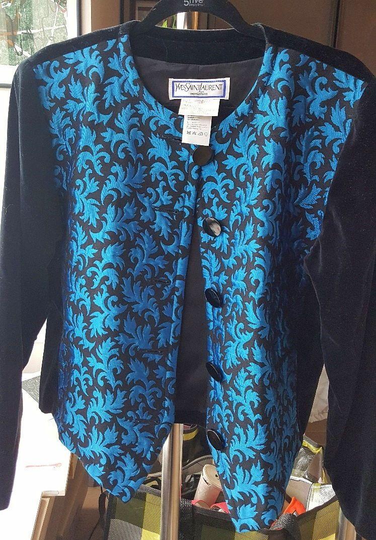 Veste YSL Variation velours bleue et noire taille 42-44