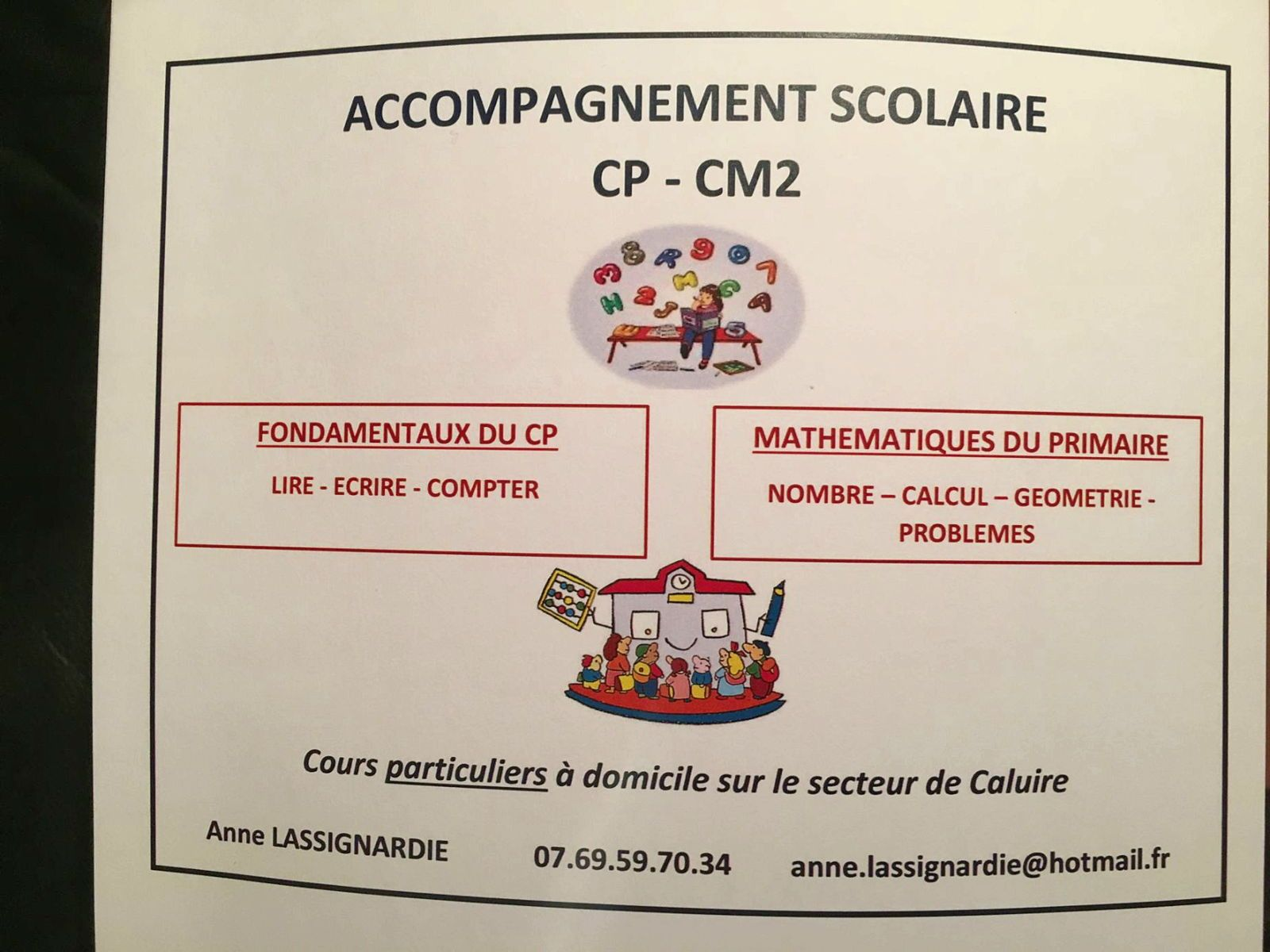 Accompagnement scolaire du CP au CM2