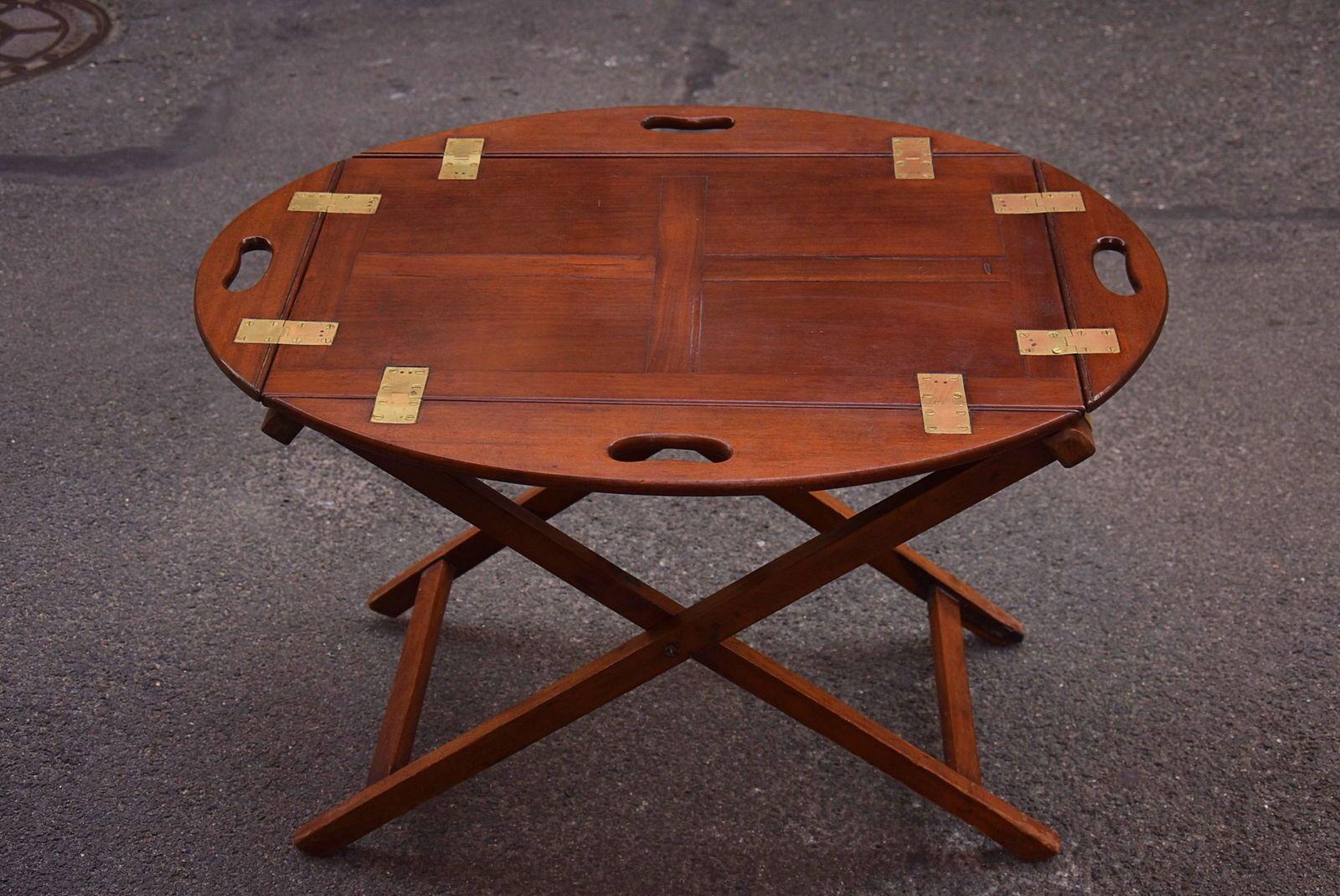 Ancienne table de bateau en acajou