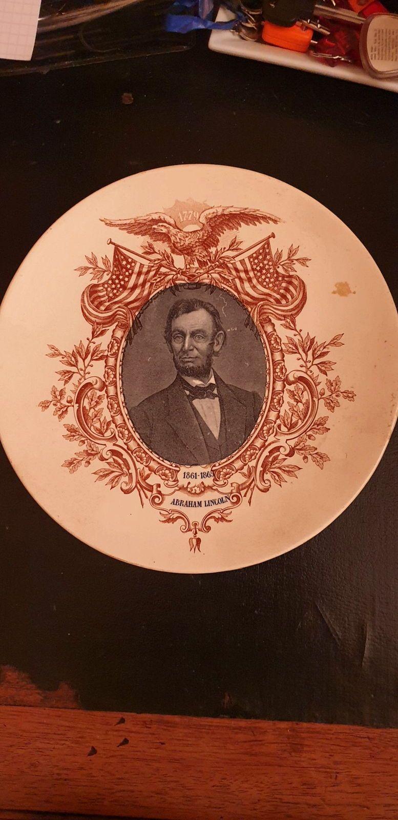 Assiette faience de sarreguemines Abraham Lincoln