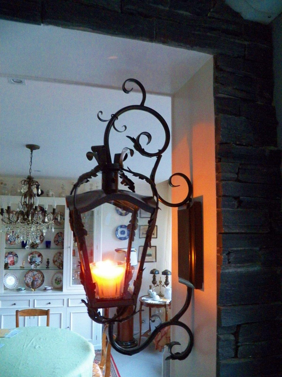 Très belle lanterne façon ancienne à bougie, possibilité d'électrifier