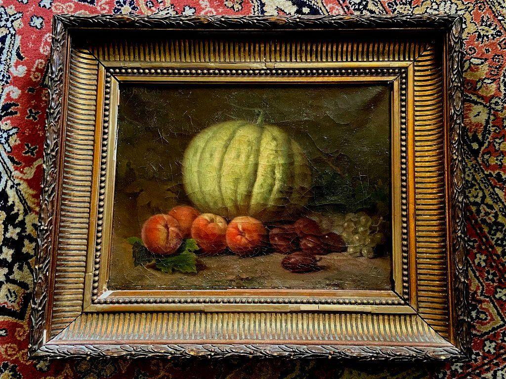 Belle Nature morte aux fruits, huile sur toile, signée