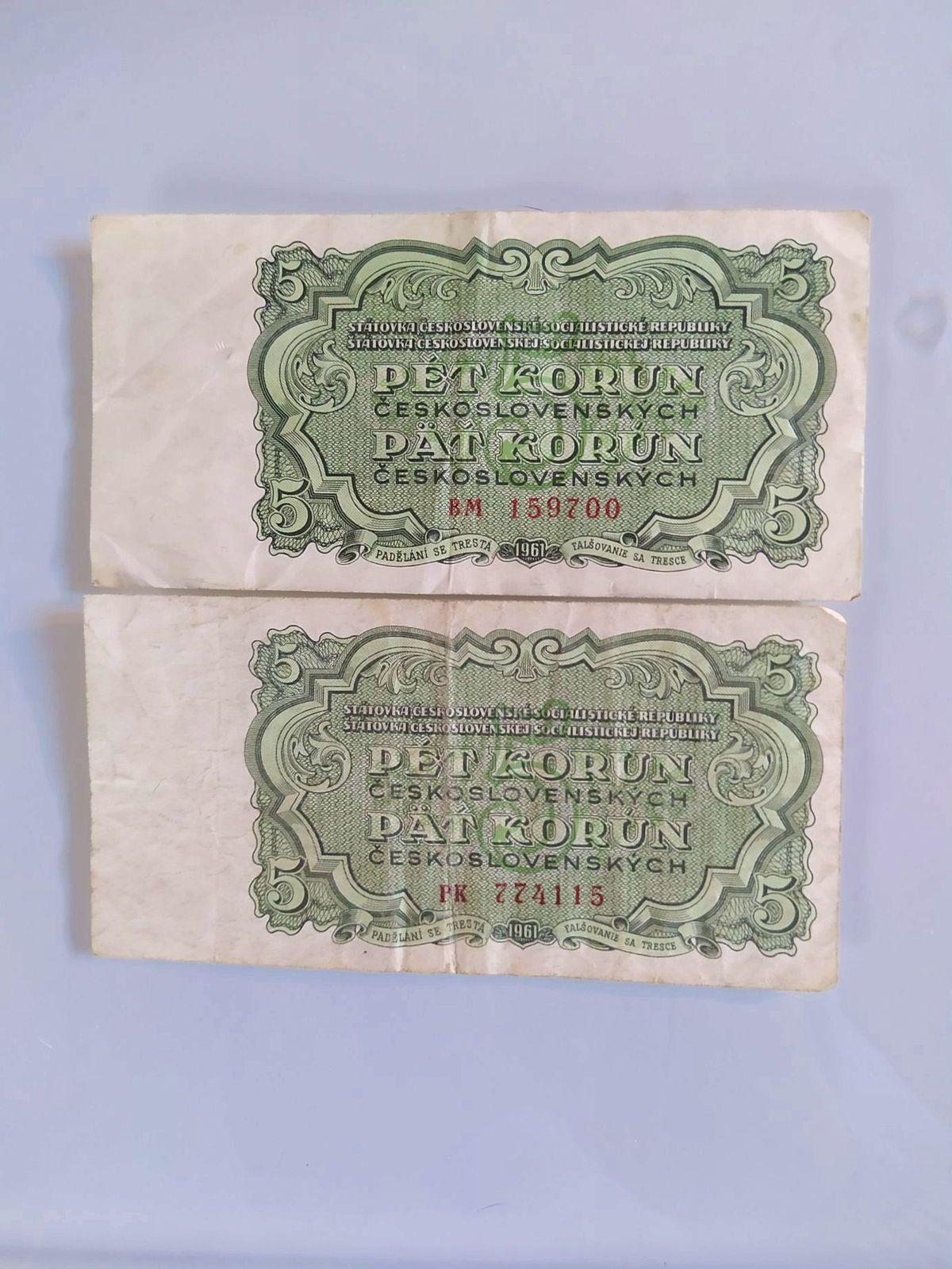 "2billets ""pet koren"" Tchécoslovaquie 1961"