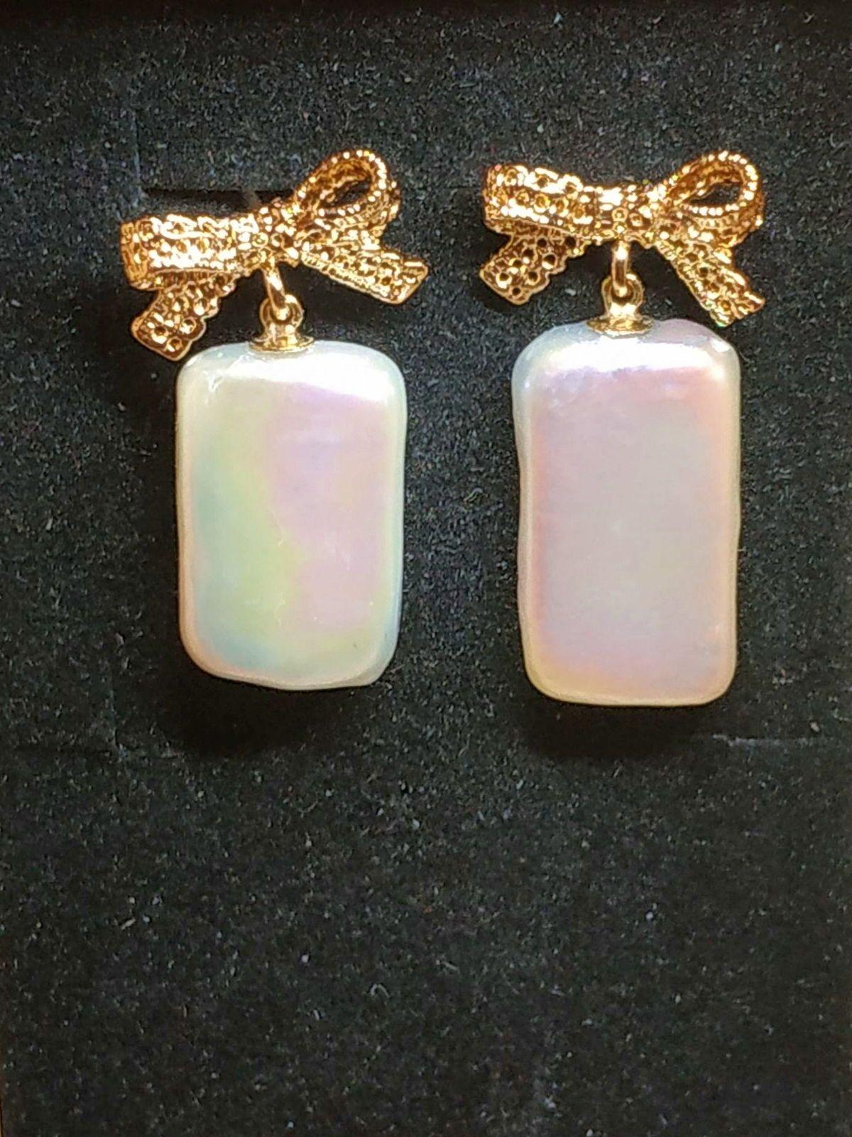 Boucles d'oreilles perle de culture rectangle clou plaqué or