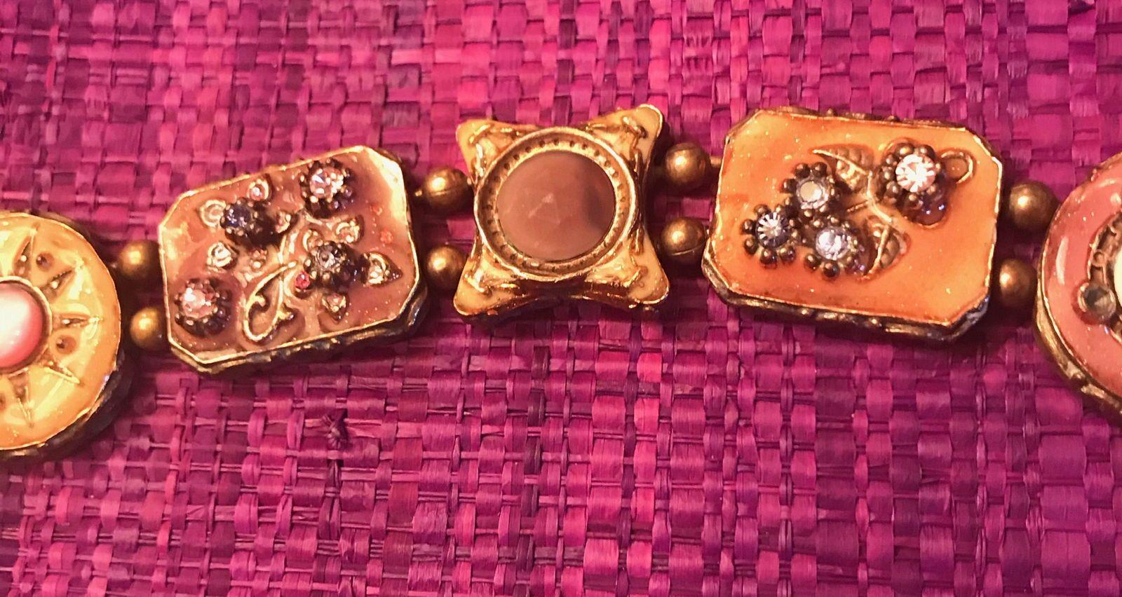 Bracelet GAS semi rigide rose et brun