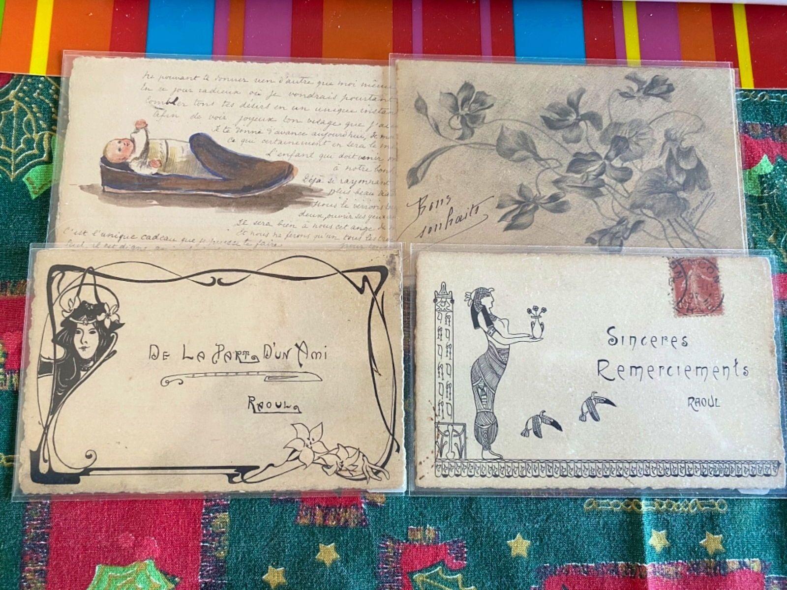 4cartes postales anciennes dessinées main