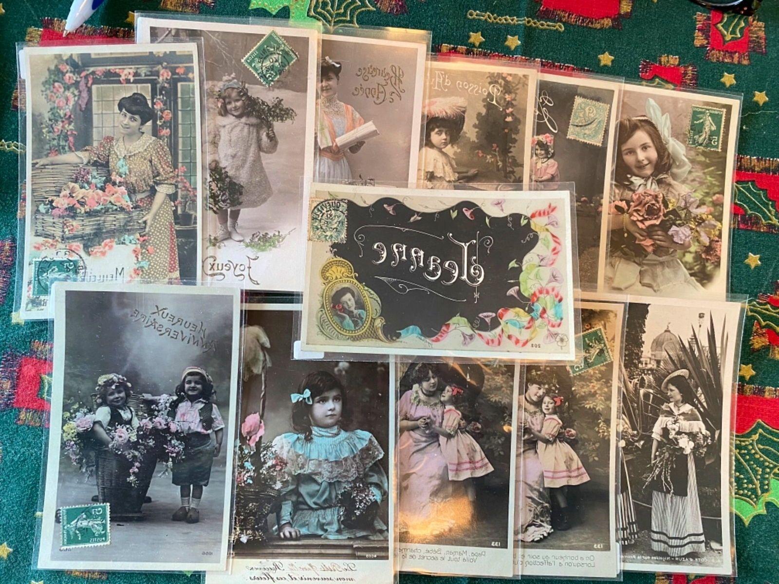 32cartes postales anciennes photo fantaisie