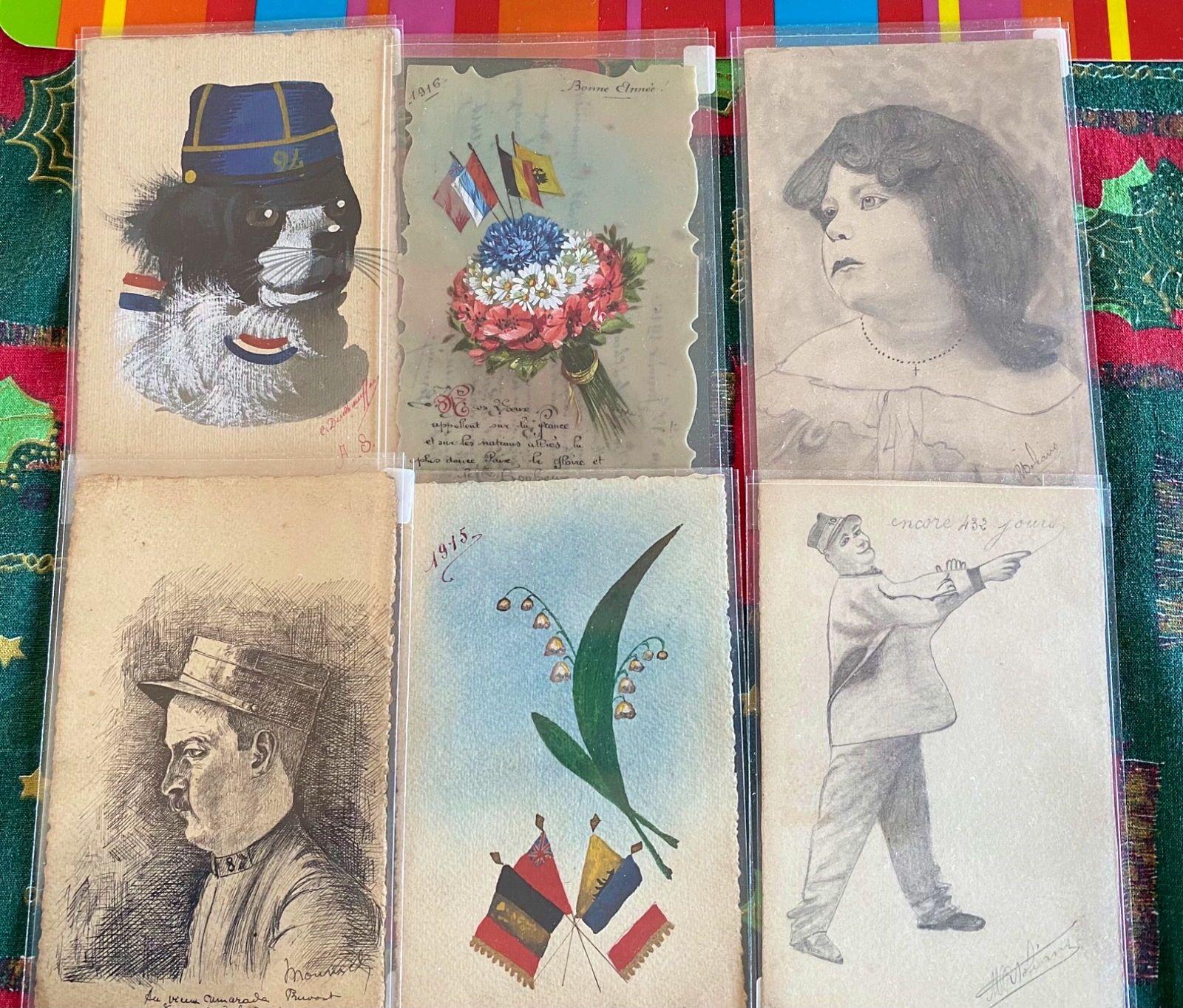 Cartes postales 1ère guerre vers 1914dessinées main