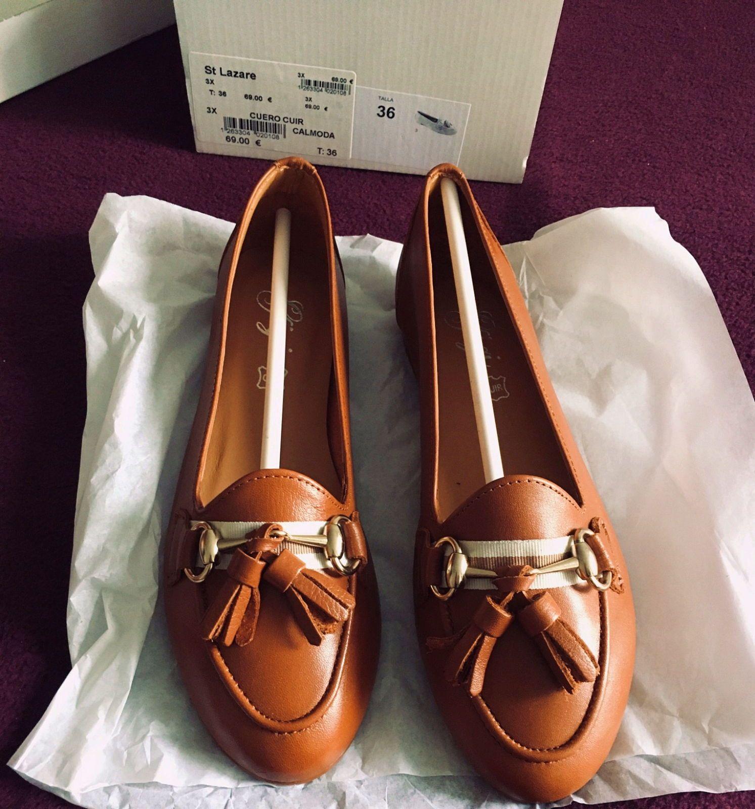 Chaussures camel en cuir plates et neuves marque Calmoda - Pointure 36