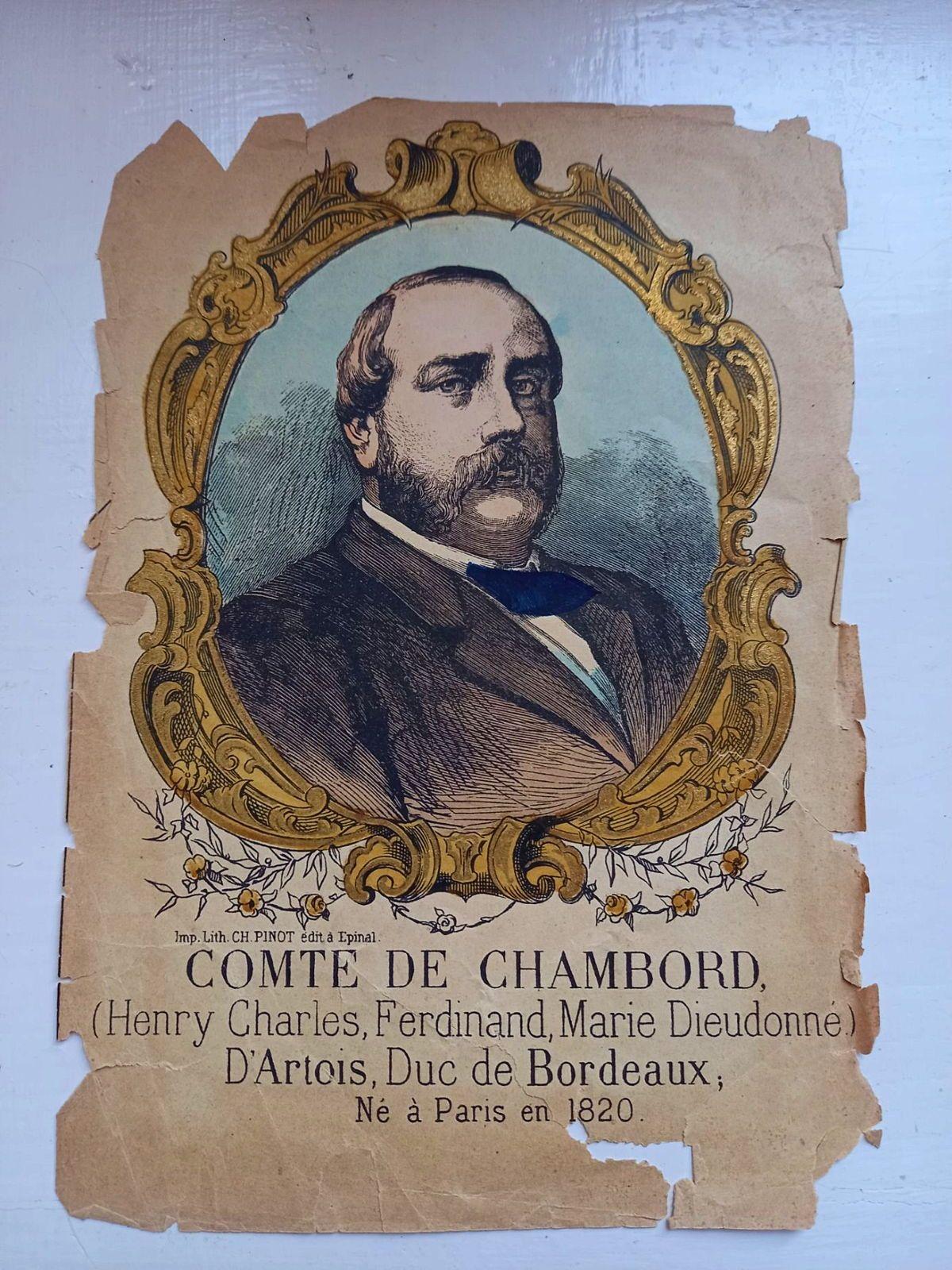 Comte de Chambord Lithographie coloriée 19ème