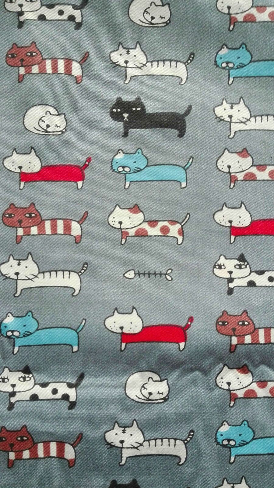 """Coupon coton imprimé """"Chats """" sur fond gris"""