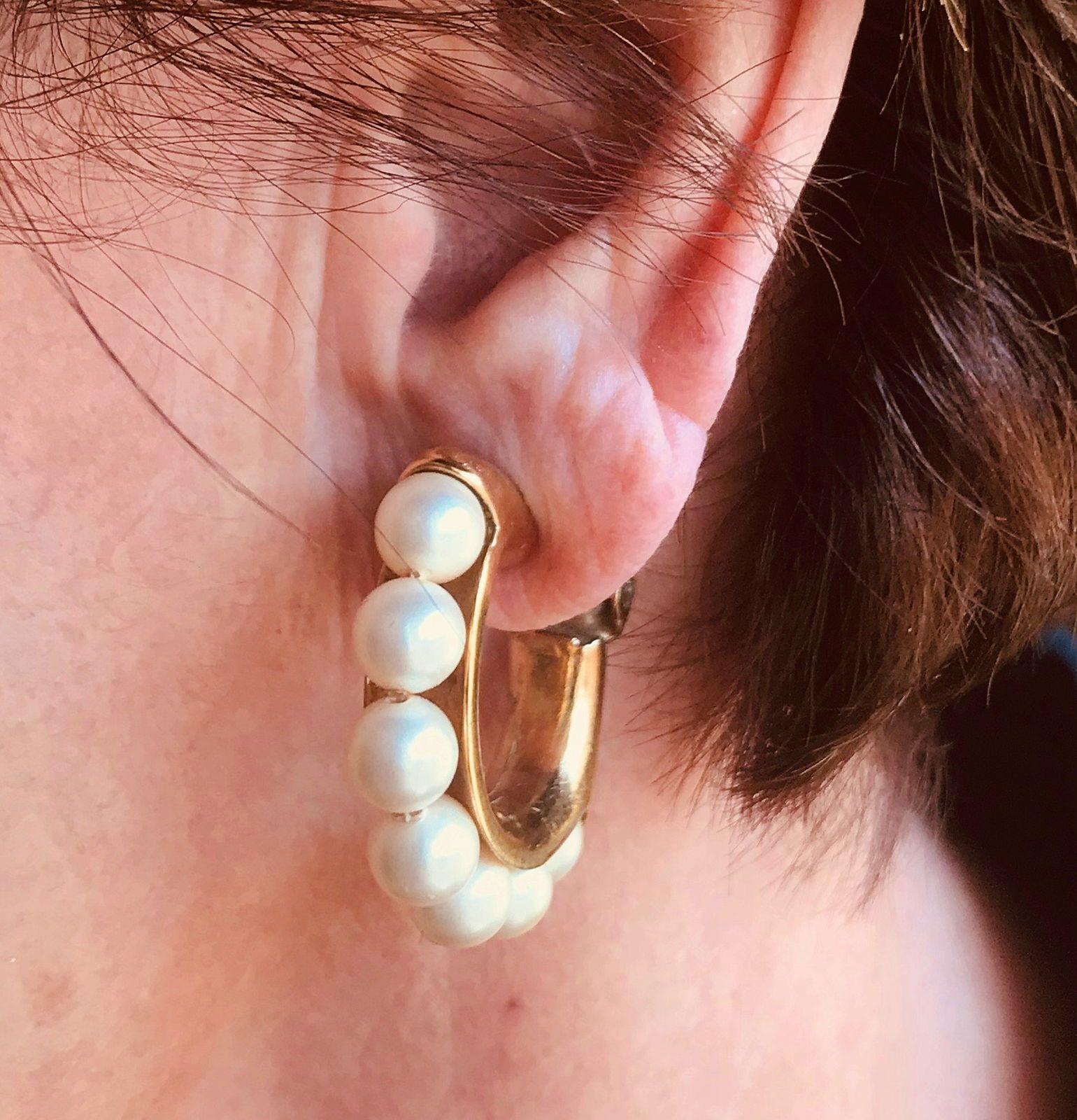 Créoles Agatha dorées avec perles