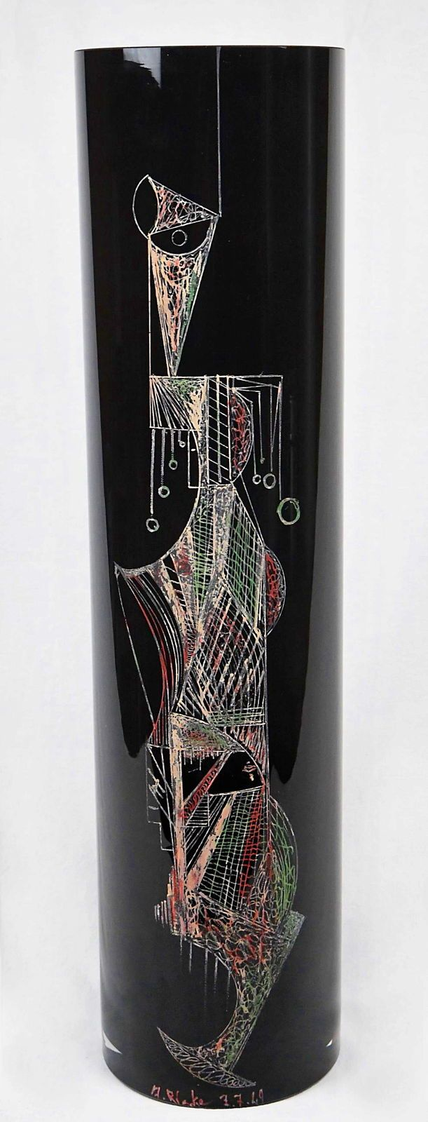 Grand vase rouleau en verre coloré noir, de A. Riecke XXème