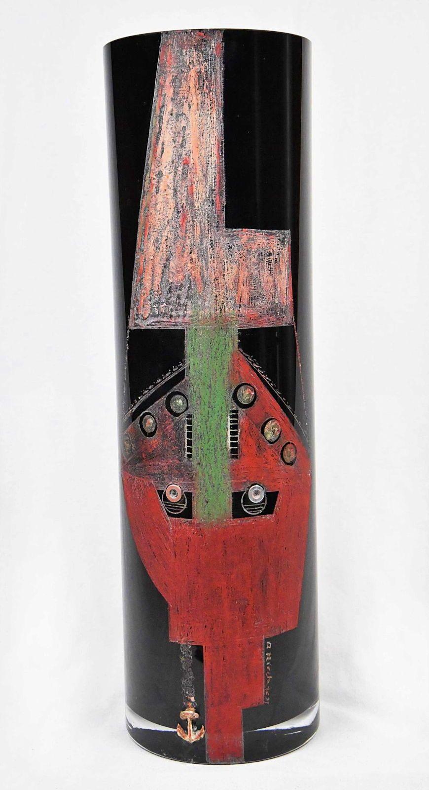 """Important Vase Cubiste en verre coloré noir de A RIECKE """"1939"""""""