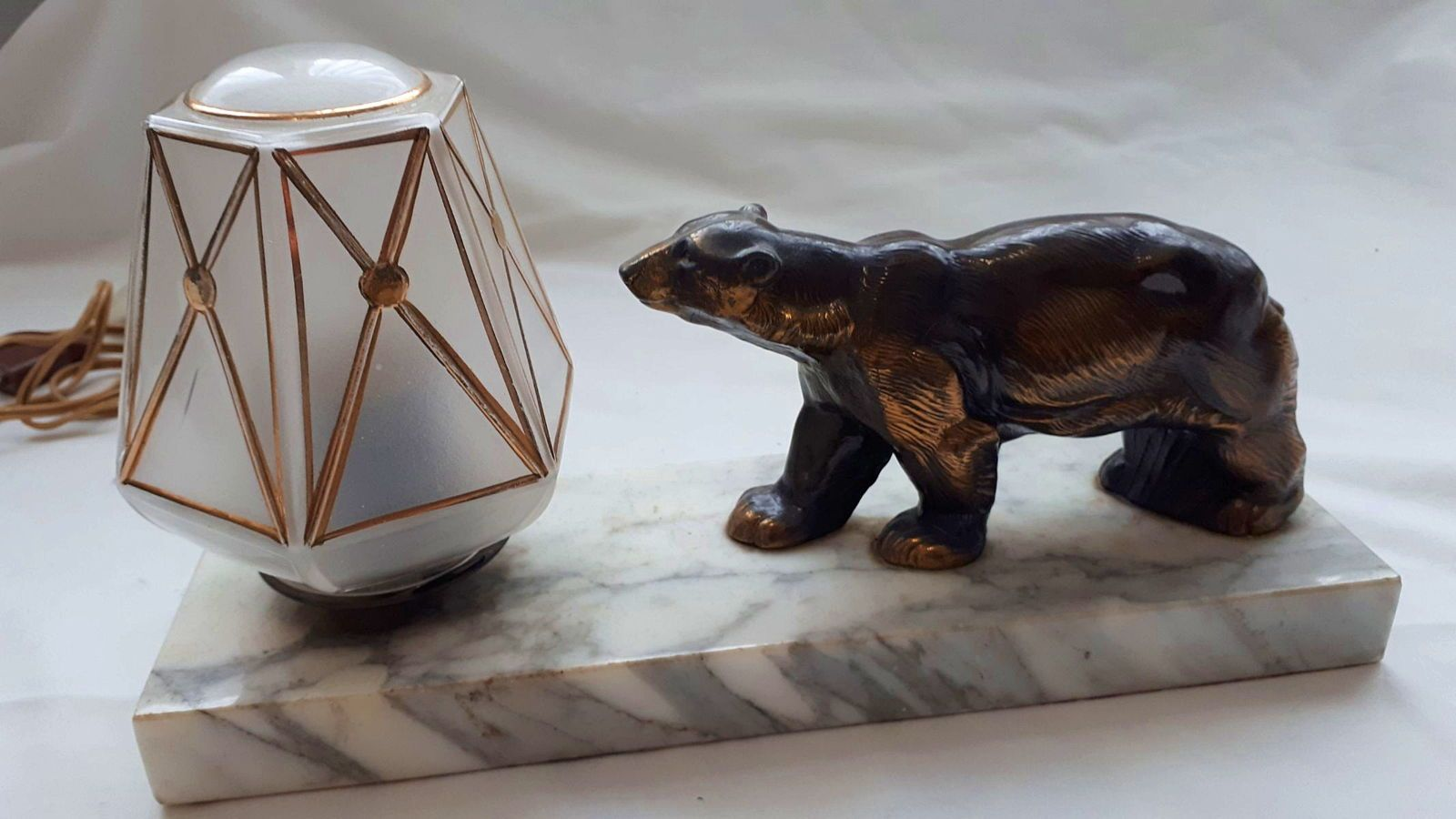 Lampe veilleuse de table à poser Art Déco ours polaire, prix en baisse
