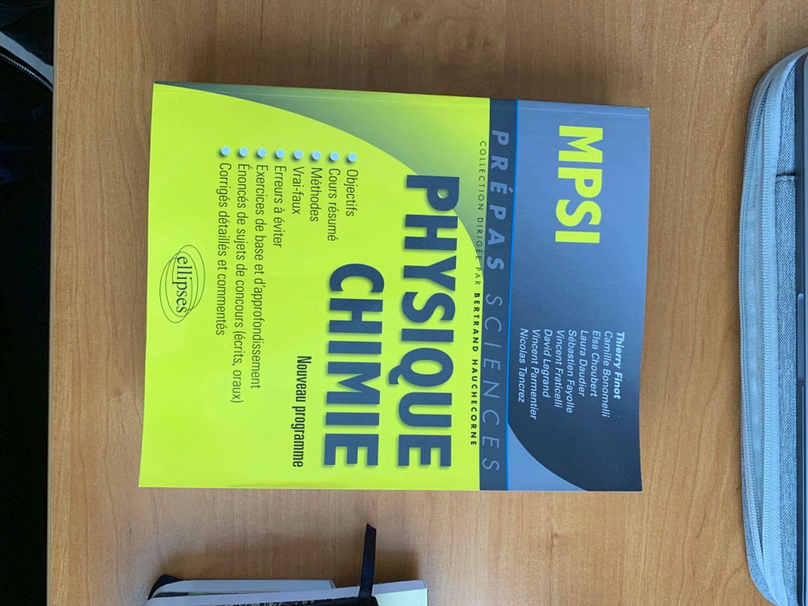 Vends Livre Ellipses prépa / CPGE MPSI maths physique