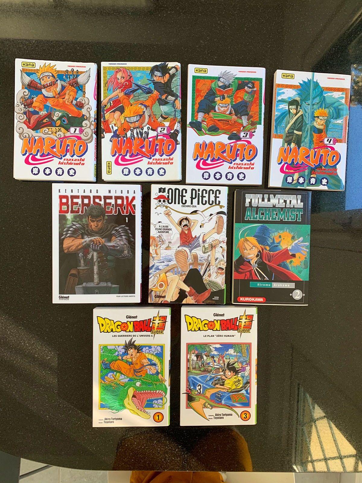Mangas Naruto/One pièce/Dragon ball super/Bersek/Full métal