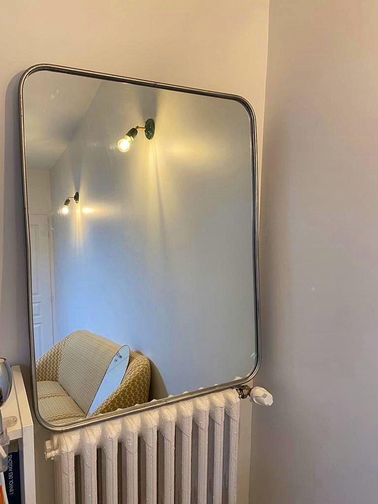 Miroir en métal argenté style industriel 75x 110
