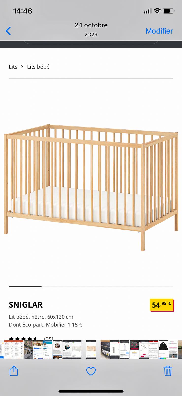 Lit bébé IKEA à deux niveaux à CAEN