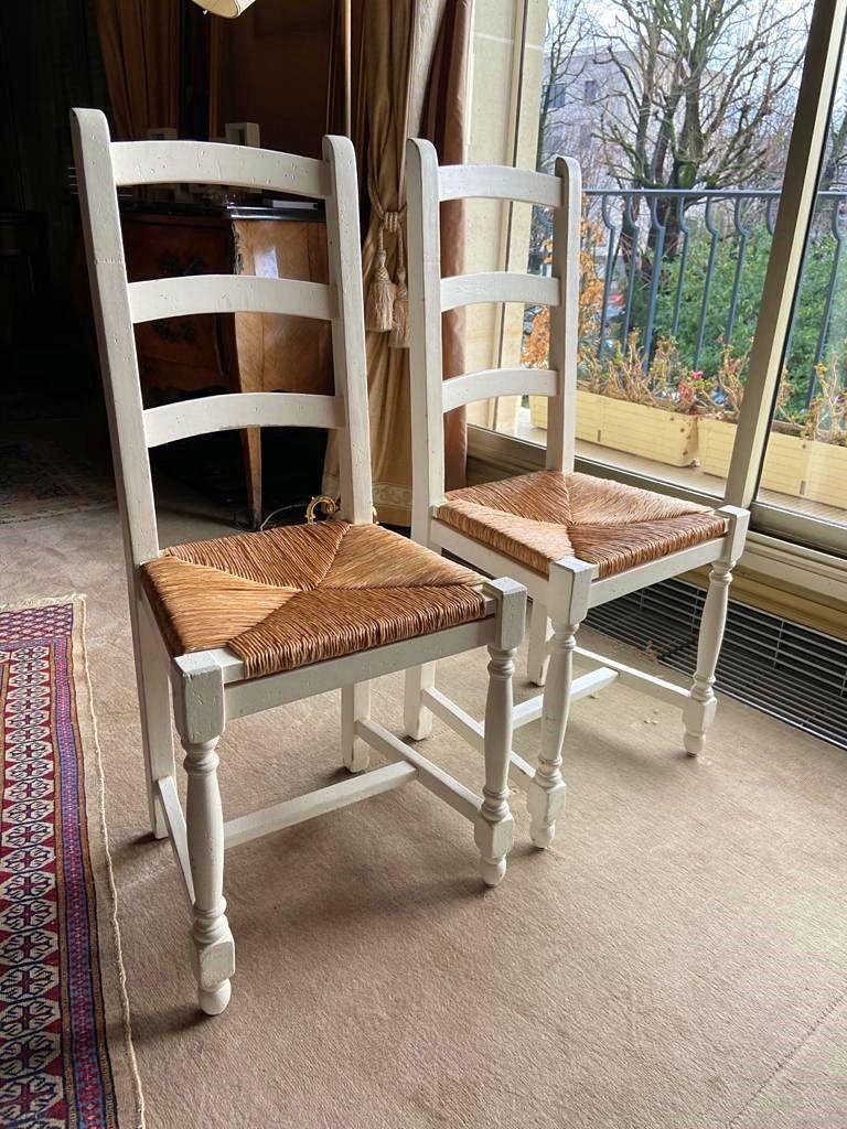 Paire de chaises bois et paille