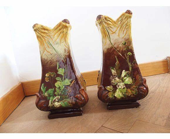 Paire de vases anciens; Vallauris P Perret