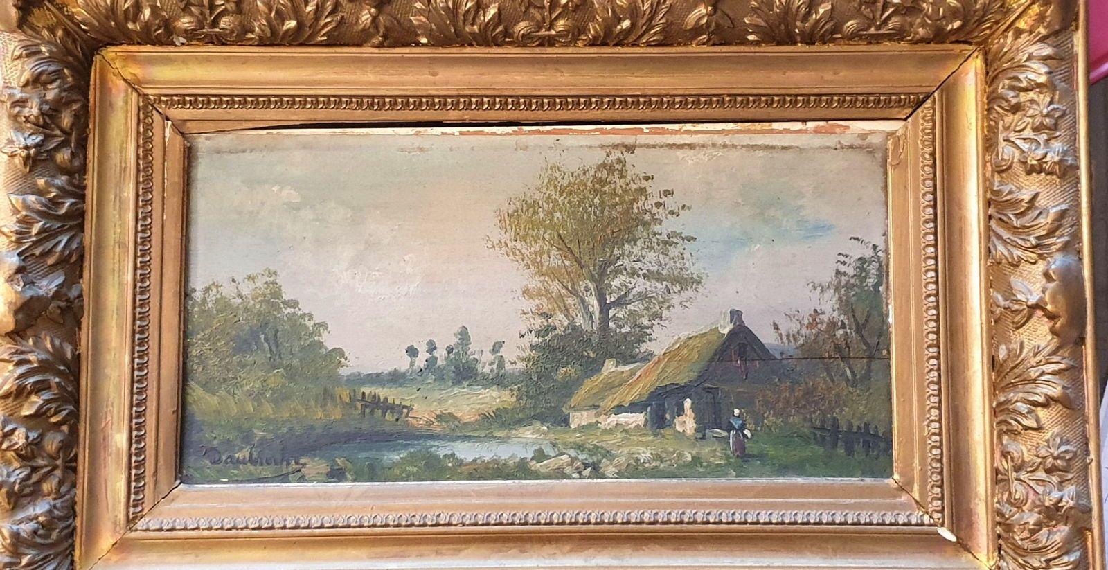 Peinture sur bois signée Daubroche (Barbizon)