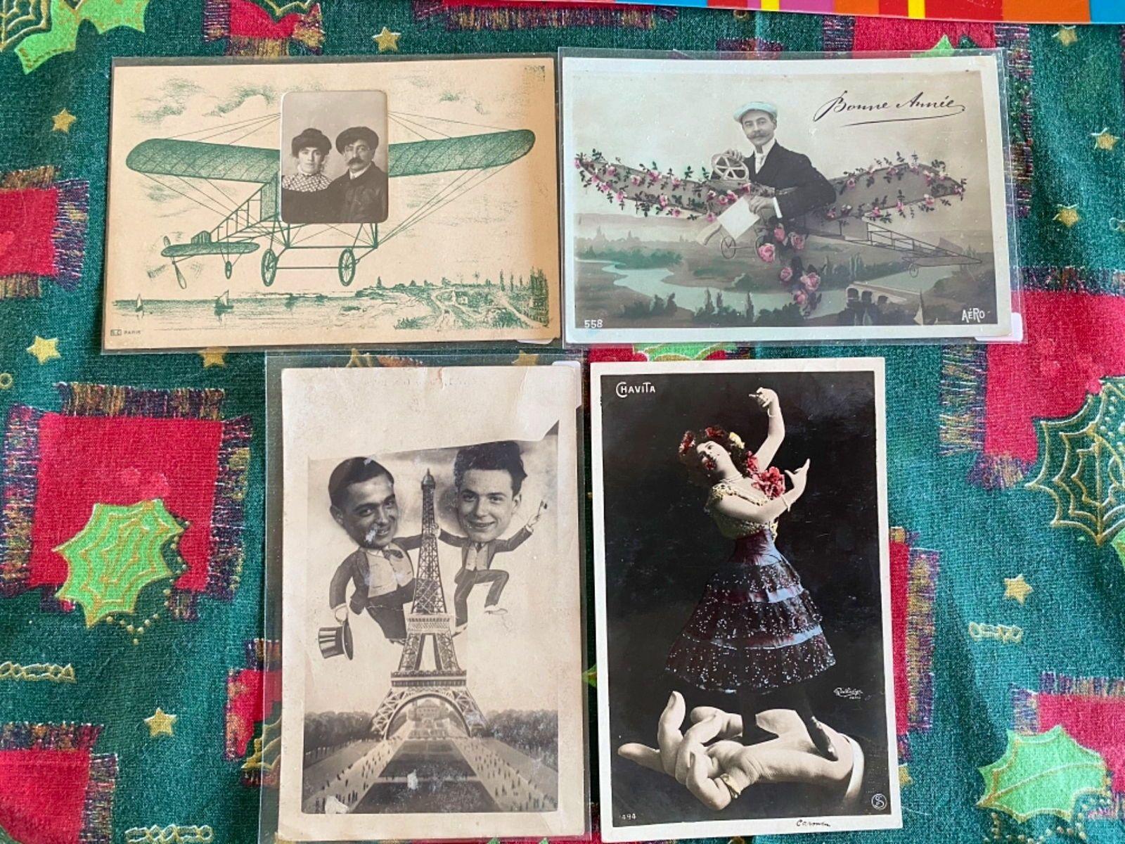 Photographie cartes postales surréalistes avion Tour Eiffel