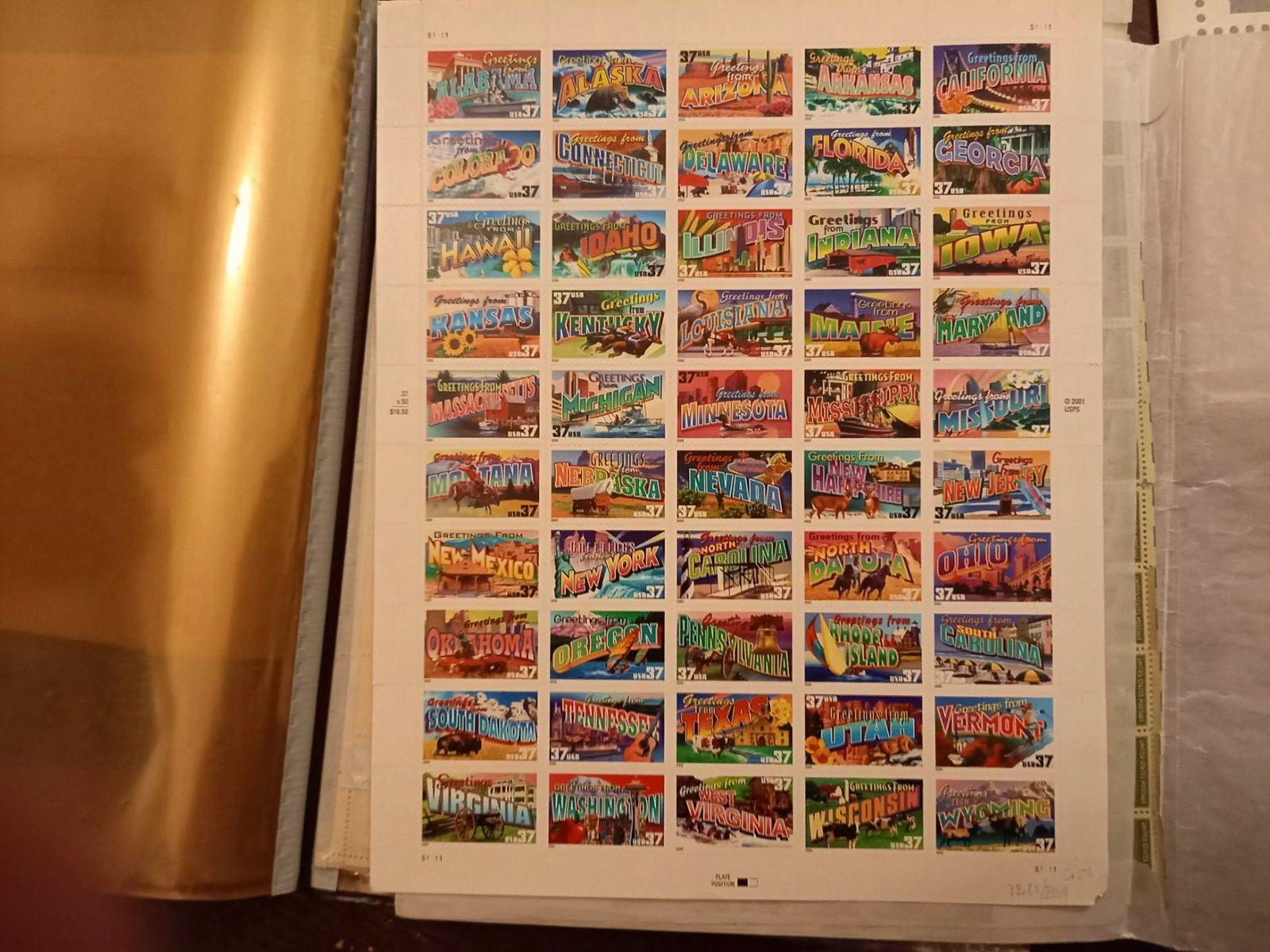 Planche timbres USA. 50Etats américains